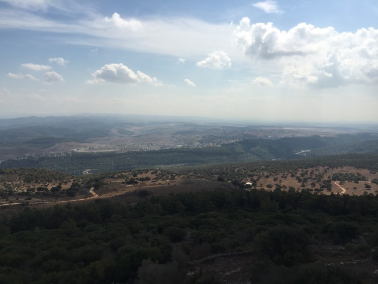 Mount Carmel gives you a view of the entire landscape. Nazareth (a place of hope) is slightly north of Armageddon (the place of death).